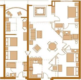 Wisconsin dells condo three bedroom condo for Condo floor plans 2 bedroom